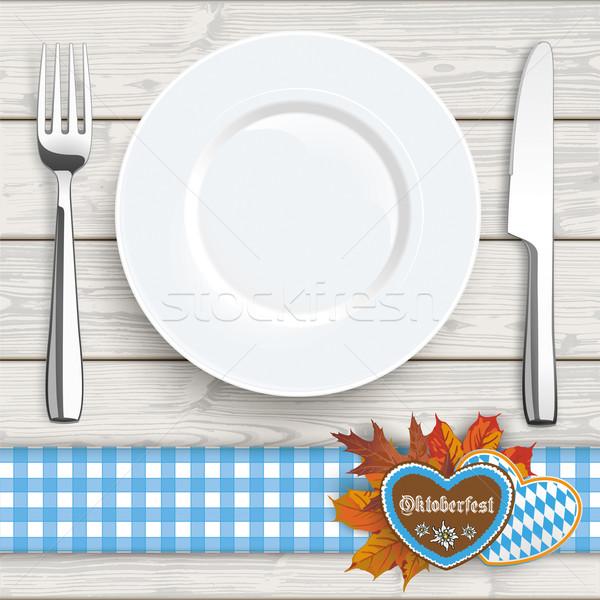 Wood Knife Fork Plate Oktoberfest Blue Tablecloth Stock photo © limbi007