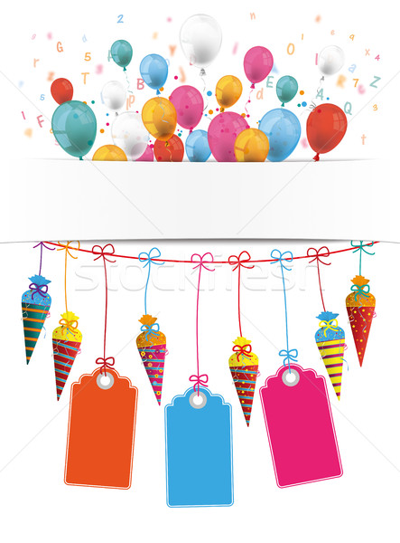 Dulces banner globos precio pegatinas cartas Foto stock © limbi007
