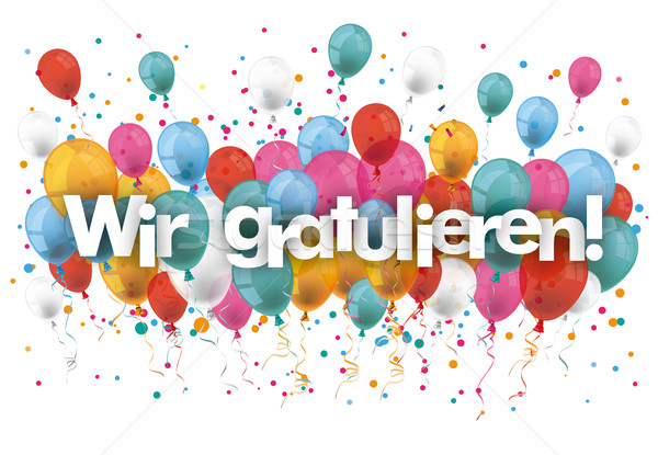 Confetti Balloons Wir Gratulieren Stock photo © limbi007