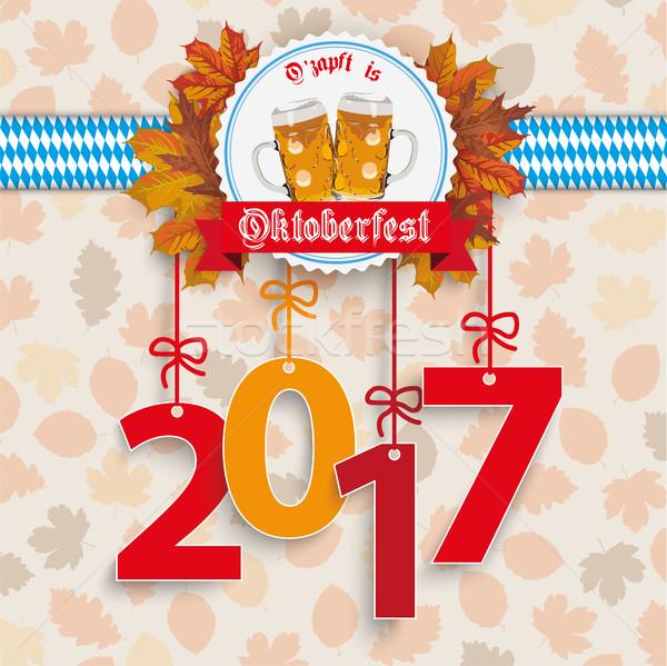 Oktoberfest follaje emblema texto toque eps Foto stock © limbi007