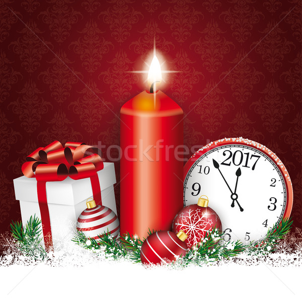 Christmas Red Ornaments Candle Clock Gift Baubles Stock photo © limbi007