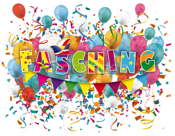 Fasching Balloons Confetti Stock photo © limbi007