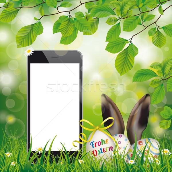 Buona pasqua uova smartphone orecchie testo Foto d'archivio © limbi007