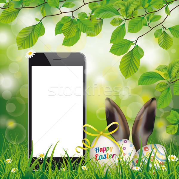 Kellemes húsvétot tojások okostelefon nyúl fülek zöld Stock fotó © limbi007