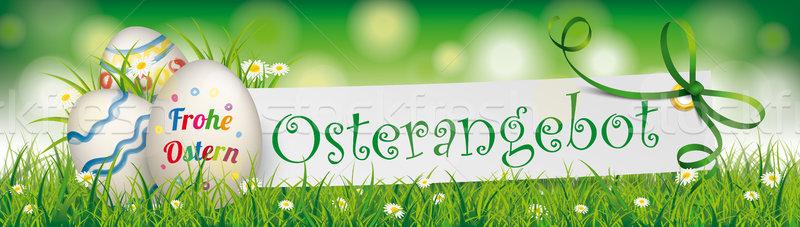 Osterangebot Easter Egg Paper Green Ribbon Ostern Header Stock photo © limbi007