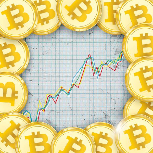 Chart Golden Bitcoins Coin Digital Connected Dots Stock photo © limbi007