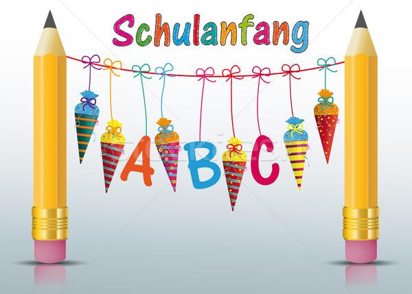2 Pencils Hanging Candy Cones ABC Schulanfang Stock photo © limbi007