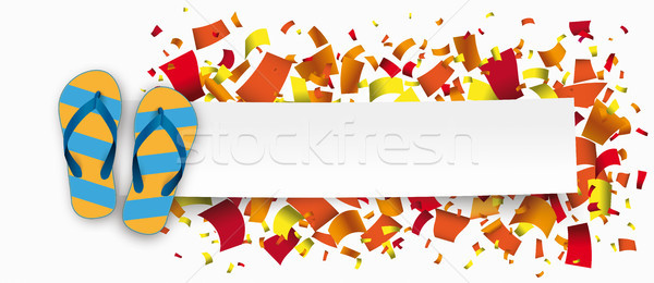 Paper Banner Flip-Flops Confetti Stock photo © limbi007