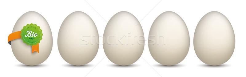 Yumurta biyo etiket yeşil beyaz eps Stok fotoğraf © limbi007