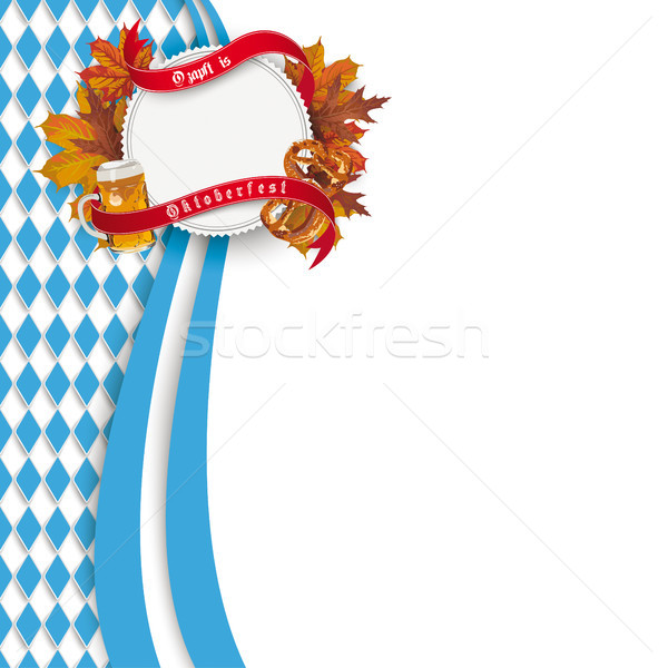 Bavarian Oktoberfest Flyer Oblong Emblem Foliage Beer Pretzel Stock photo © limbi007
