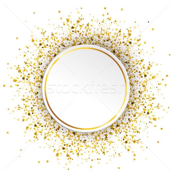 Círculo dourado partículas confete branco eps Foto stock © limbi007