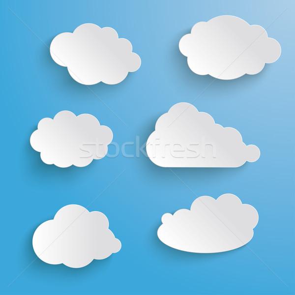 Clouds Set Blue Background Stock photo © limbi007
