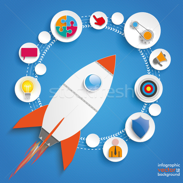 Circles Cycle Rocket Infographic Stock photo © limbi007