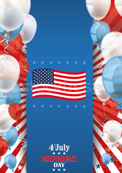 4th July Oblong Flyer Banner Balloons Stock photo © limbi007