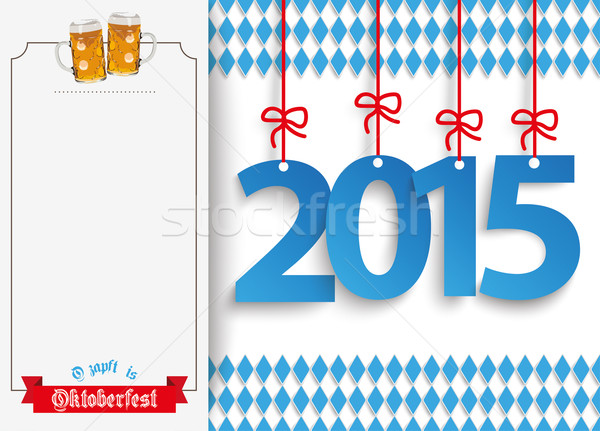 Oktoberfest Oblong Banner Beer Ribbon 2015 Stock photo © limbi007