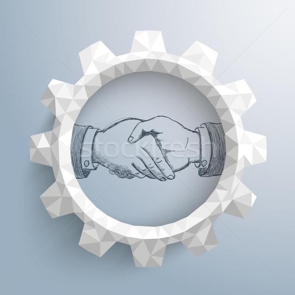 Low Poly Gear Handshake Stock photo © limbi007