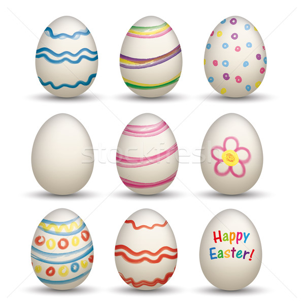 Set Of 9 Natural Colored Easter Egss  Stock photo © limbi007