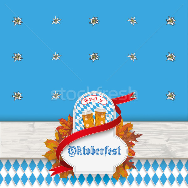 Oktoberfest Wooden Plank Emblem Beer Foliage Stock photo © limbi007