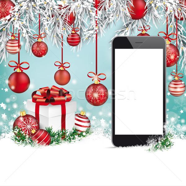 Christmas Red Baubles Frozen Twigs Snow Smartphone Stock photo © limbi007