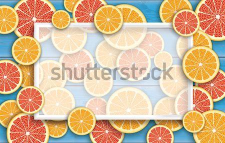 Azul naranja pomelo frutas marco Foto stock © limbi007