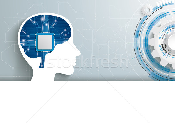 Human Head AI Microchip Brain Gear Wheel Header Stock photo © limbi007