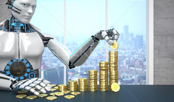 White Robot Golden Bitcoins Growth Chart Stock photo © limbi007