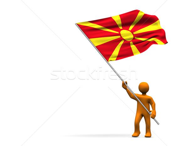 вентилятор Македонии оранжевый Cartoon большой флаг Сток-фото © limbi007
