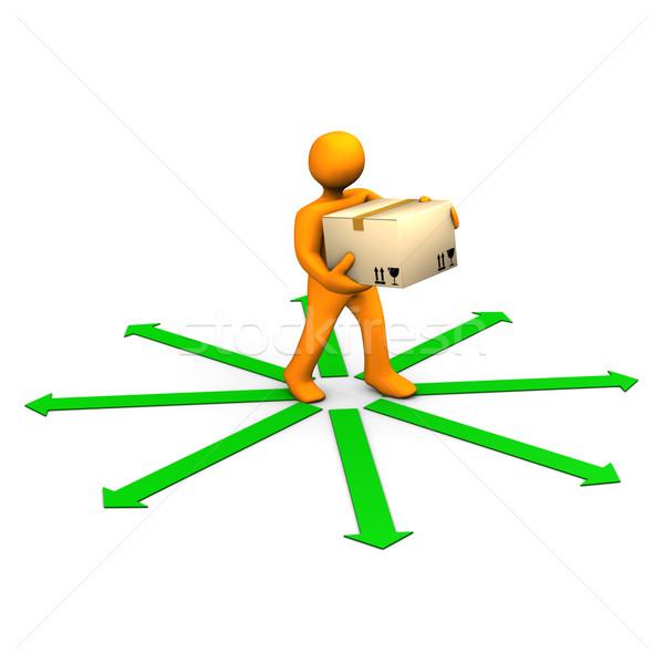 Expedição organização laranja desenho animado verde Foto stock © limbi007
