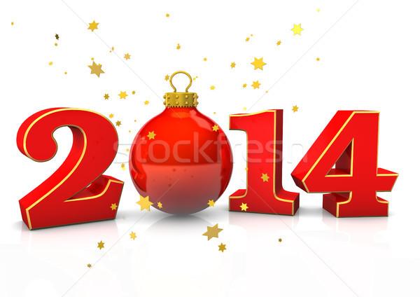Рождества 2014 текста безделушка звезды белый Сток-фото © limbi007