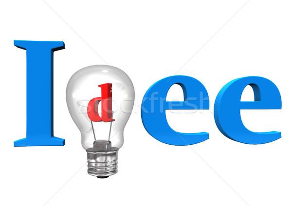 アイデア 電球 青 文字 白 学校 ストックフォト © limbi007