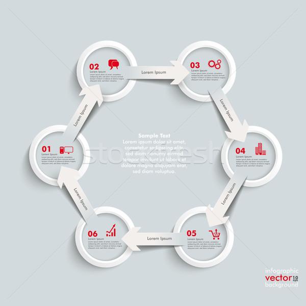 6 White Rings 6 Arrows Cycle Hexagon Stock photo © limbi007