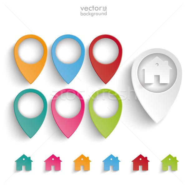 Ubicación casas establecer infografía gris eps Foto stock © limbi007