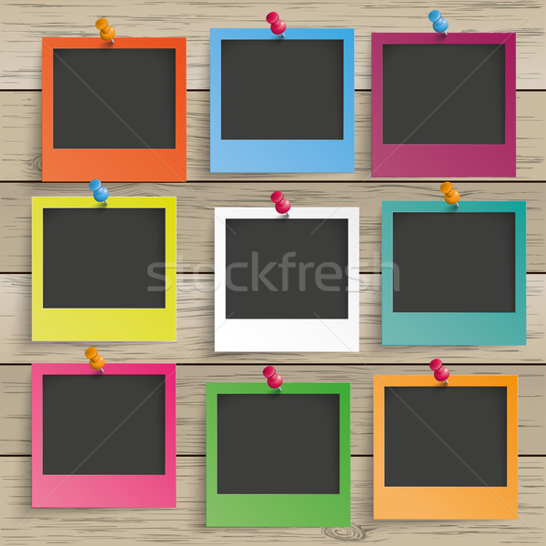 Wood 9 Colored Photo Frames Stock photo © limbi007