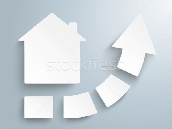 Groei pijl vier stukken huis witte Stockfoto © limbi007