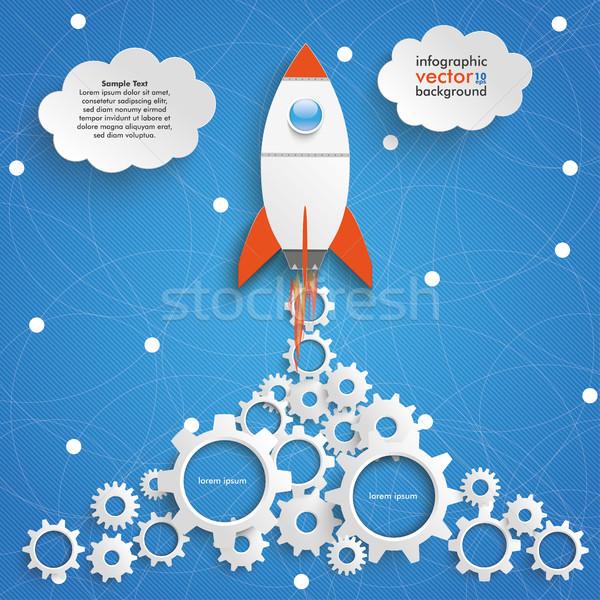 Rakéta sebességváltó gyártás infografika kék ég hálózat Stock fotó © limbi007