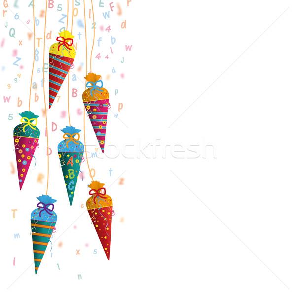 Colgante dulces cartas gris eps Foto stock © limbi007