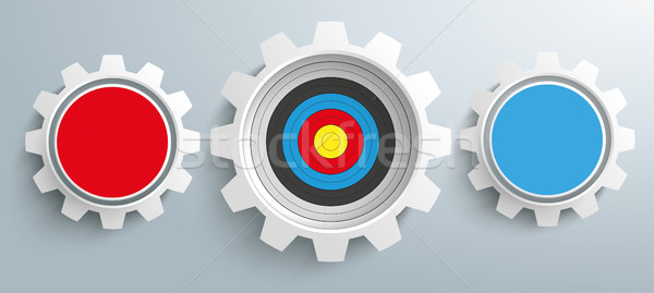 3 Colored Gears Target Infographic Header SH Stock photo © limbi007