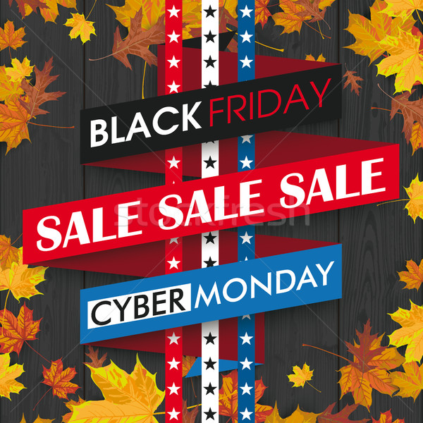Black Friday Cyber Monday Ribbon Autumn Foliage Black Wood  Stock photo © limbi007