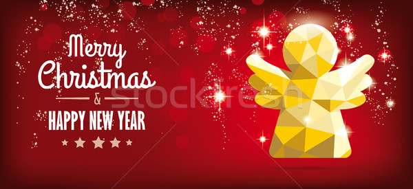 Low Poly Christmas Angel Red Headline Background Lights Stock photo © limbi007
