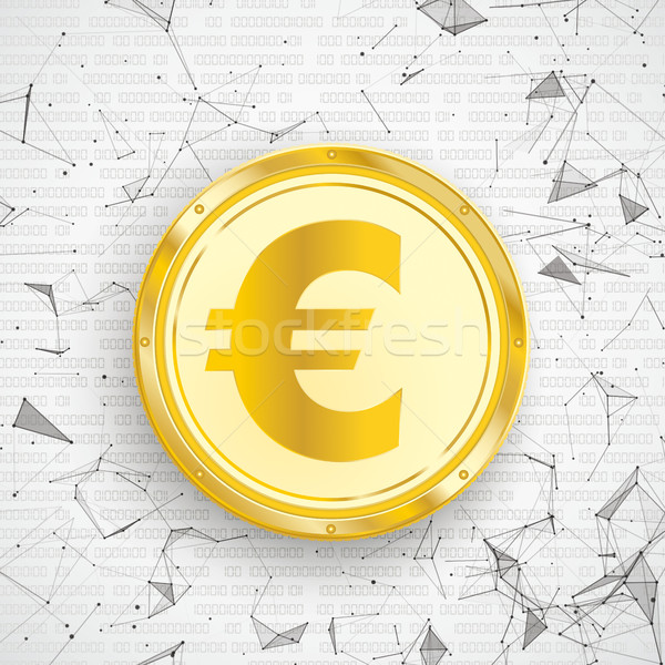 Golden Euro Coin Digital Network Connected Dots Stock photo © limbi007