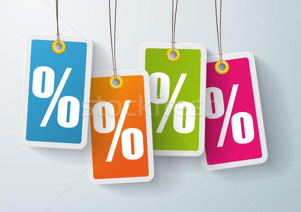 4 Colored Price Sticker Percent Stock photo © limbi007