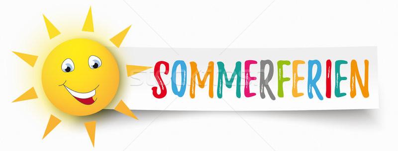 Paper Banner Funny Sun Sommerferien Stock photo © limbi007