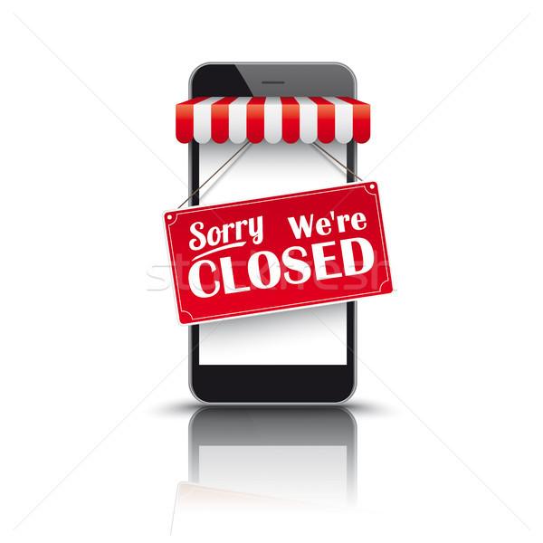 Smartphone Red Awning Closed Stock photo © limbi007