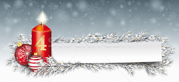 Stock photo: Paper Banner Bauble Frozen Twigs Christmas Candle Advent 4