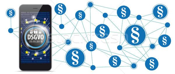 Smartphone Circles Network Paragraphs DSGVO Stock photo © limbi007
