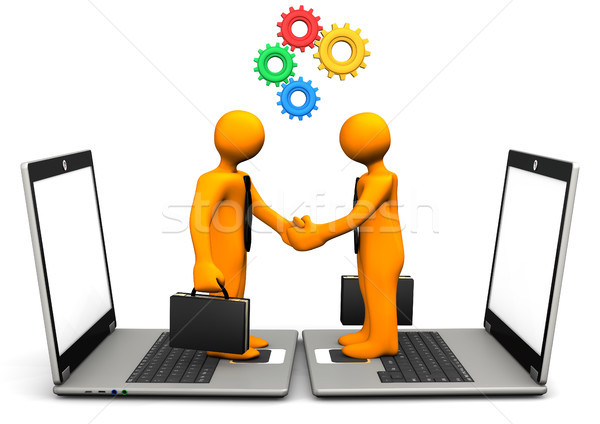 Handshake Laptop Gears Stock photo © limbi007
