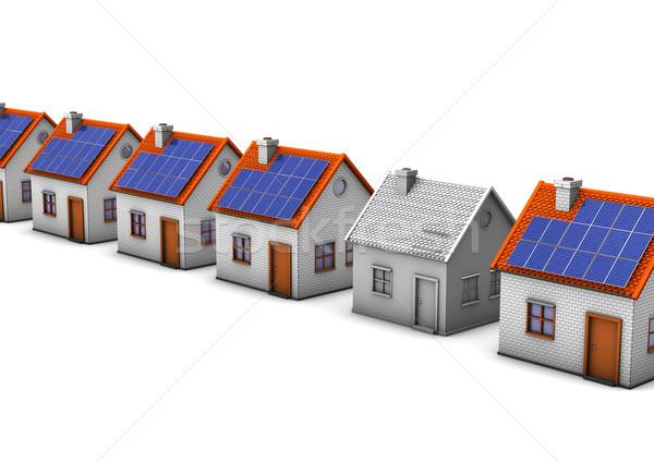 Befejezetlen épület házak egy ház fehér Stock fotó © limbi007