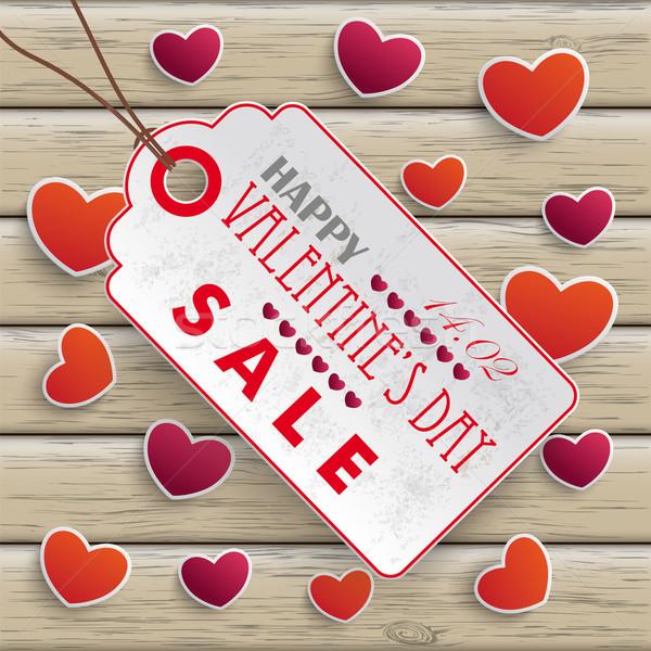 Valentinesday Price Sticker Wood Stock photo © limbi007