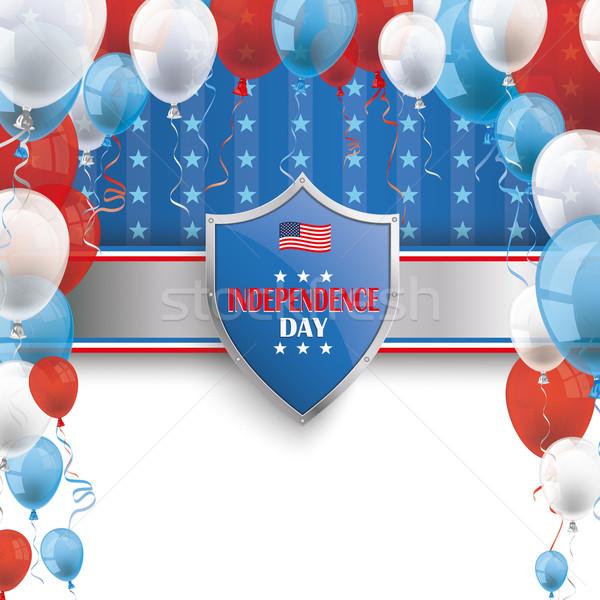 4th July Protection Shield Stars Stripes Balloons Stock photo © limbi007