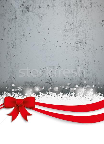 Christmas Red Ribbon Oblong Flyer Concrete Stock photo © limbi007
